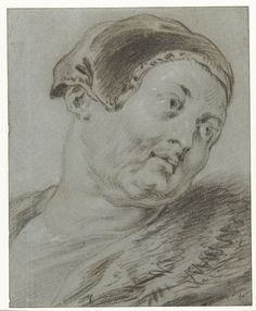Jacob Jordaens Head of a man, turned to the right 1603 - 1678 chalk on blue paper Rijksmuseum Amsterdam