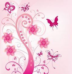 Pink Abstract Butterfly Floral Vector Background - http://www.dawnbrushes.com/pink-abstract-butterfly-floral-vector-background/