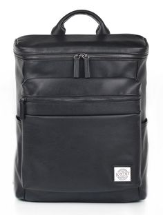 """Kamp New York Central Backpack. Main Fabrication: 100% PU Leather. Dimension: 16.75"""" (h) x 12"""" (w) x 5.5"""" (d). Volume Approx.: 18L / 1106 in³."""