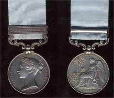 Army of India Medal.  Approved on 21 March 1851, the campaign medal was issued to officers and men of the British Army and the Army of the Honorable East India Company as a retrospective award to survivors of various actions during the period 1803–1826. This period encompassed four wars: the Second Mahratta War (1803–4), the Gurkha War (1814–16), the Pindaree or Third Mahratta War (1817–18), and the First Burmese War (1824–26).  The obverse and reverse sides of the medal are shown.