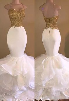 2017 Aso Ebi Sexy Gold White Ruffles Lace Mermaid Prom Dresses Spaghetti-Strap Sweetheart Sleeveless Tiers Skirt Evening Dresses Navy Blue Dress Mermaid Prom Dress Major Beaded Online with $129.0/Piece on Magicdress2011's Store | DHgate.com