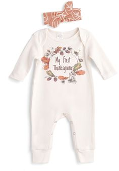 My first thanksgiving body suit! With little head band! Adorable! #thanksgiving #fall #baby #outfits #autumn #november #ad