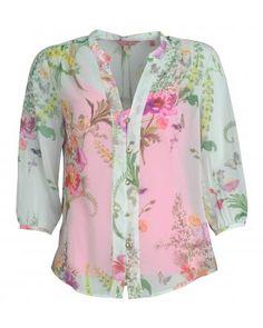 Mint Floral Print Blouse