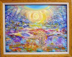 Бесплатная доставка! Абстрактная живопись маслом, энергетическое искусство, сияющее солнце, желтая рамочная роспись, искусство на холсте, живопись на стенах, оригинальное искусство