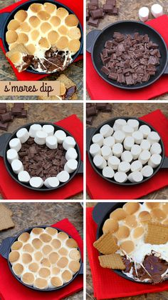 Dip de chocolate y nubes (s'mores dip) … Dip Recipes, Baking Recipes, Sweet Recipes, Snack Recipes, Dessert Dips, Dessert Recipes, Smores Dessert, Smores Cake, Party Desserts