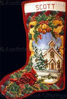 Rare Christmas Cardinal Needlepoint Stocking Kit Village Church