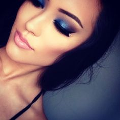 Blue Smokey Eye Makeup - Lashes - Nude Lips