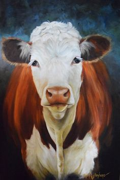 Hey, I found this really awesome Etsy listing at https://www.etsy.com/listing/221259116/oil-painting-hereford-cow-named-sally