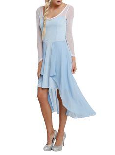 Icy Blue Long Sleeve Hi-Lo Dress   Hot Topic
