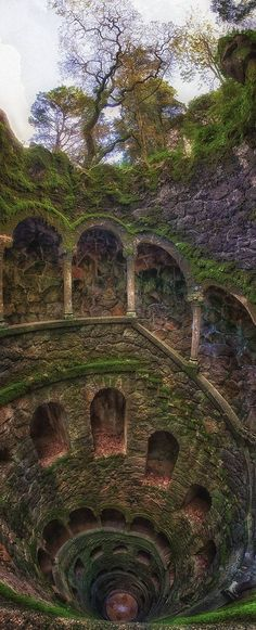 The Iniciatic Well,Regaleira Estate, Sintra, Portugal Aaand.adding Portugal to my list of places to visit! Places Around The World, Oh The Places You'll Go, Places To Travel, Places To Visit, Around The Worlds, Travel Destinations, Dark Places, Wonderful Places, Beautiful Places