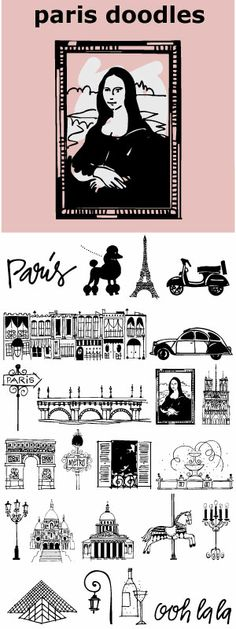 Paris Doodles... memories of a feeling, a rainy afternoon, a glass of wine, an outdoor cafe, a metro stop... 28 hand drawn whimsical icons and 2 scripted words. Ooh la la!