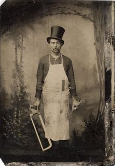 [tintype portrait of a butcher] yup not at all creepy. Antique Photos, Vintage Pictures, Vintage Photographs, Old Pictures, Vintage Images, Old Photos, Vintage Men, Time Pictures, Halloween Fotos