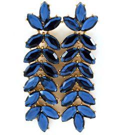 Blue Jeweled Vine Teardrop Earrings #emerald #clusterearrings,#greenearrings,#teardropearrings,#statementearrings,#shourouk,#vinejeweledearrings,#palmerarings,#chandelierearrings,#longearrings,#blueearrings,#sapphireblue,#sapphireearrings