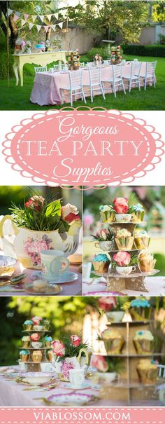 You don't want to miss this fabulous Tea Party! All the Tea Party - Table Settings High Tea Decorations, Tea Party Supplies, Tea Party Birthday, 4th Birthday, Spring Birthday Party Ideas, Fairy Birthday, Tea Party Table, Tea Party Bridal Shower, Bridal Showers