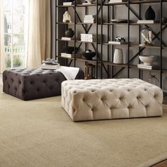 TRIBECCA HOME Knightsbridge Rectangular Linen Tufted Cocktail Ottoman with Casters - Overstock Shopping - Great Deals on Tribecca Home Ottomans $371.99 White Sofa Table, Sofa End Tables, Living Room Furniture, Living Room Decor, Style Classique, Cocktail Ottoman, Living Room Grey, Home Interior Design, Home Furnishings