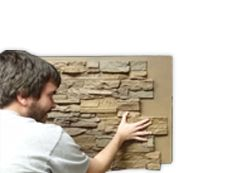These faux panel installation instructions make house remodeling very easy Faux Rock Panels, Home Remodeling Diy, Diy House Projects, Outdoor Projects, Outdoor Ideas, Hotel Lobby, Home Repairs, Installation Instructions, Curb Appeal