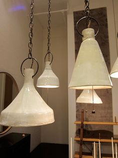 Pendant lighting ... Thinking about unusual shapes to make out of porcelain clay.   Glaze in great colors...