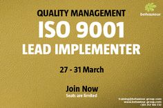 Master the implementation and management of a QMS based on ISO 9001. Register now and guarantee your place.