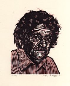 A lovely linocut of an amazing author, Kurt Vonnegut. Hand carved and printed by Horse & Hare. #erindollar