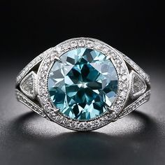 Estate Blue Zircon, Platinum and Diamond Ring