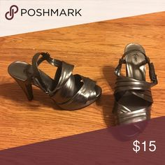 Adorable silver heels Silver heels Shoes Heels