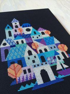Blue Village modern cross stitch pattern PDF di SatsumaStreet