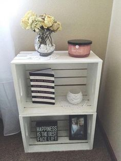 Ideas For Crate Nightstand Diy Night Stands Pallet Furniture Crate Nightstand, Decor, Crate Table, Wooden Crate Shelves, Living Room Diy, Crate Shelves Diy, Bedroom Night Stands, Pallet Furniture Bedroom, Home Decor