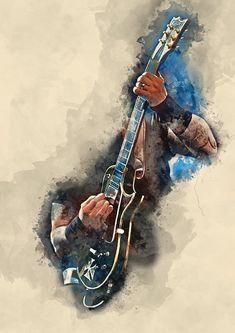 "Beautiful ""James' Iron Cross Guitar"" metal poster created by Abraham Szomor. Guitar Wall Art, Music Wall Art, Guitar Painting, Music Artwork, Metallica, Guitar Posters, Guitar Photography, Jazz Art, Music Drawings"
