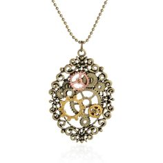 Steampunk Cogs Statement Necklace in Bronze Necklace Type: Pendant Necklaces Length: 69CM Pendant Size: 63*43MM Material: Metal