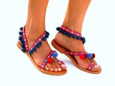 LEATHER Sandals Pom Pom sandals Colorful  Sandals boho от DelosArt