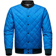 The North Face Men's Jester Reversible Bomber Jacket ($149) ❤ liked on Polyvore featuring men's fashion, men's clothing, men's outerwear, men's jackets, bomber blue, mens lightweight jacket, mens quilted jacket, mens light weight jackets and mens bomber jacket