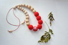 Red Nursing Necklace  Breastfeeding Necklace  by EjaEjovna on Etsy, $25.00