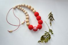 Christmas Red Nursing Necklace  Breastfeeding by EjaEjovna on Etsy, $25.00