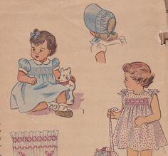 Little Girls 1940s Smocked Dress & Bonnet Pattern Simplicity 2553
