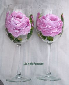 pink roses wine glasses painted in enamel paints Pink Wine Glasses, Wine Bottle Glasses, Decorated Wine Glasses, Hand Painted Wine Glasses, Pebeo Porcelaine 150, Glass Bottle Crafts, Painted Wine Bottles, Glass Art, Painted Roses