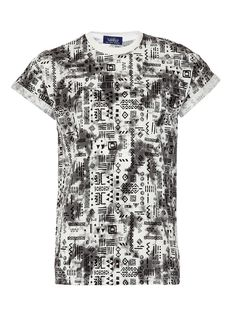 Black and White Tie Dye Effect With All Over Pattern T-Shirt With Fixed High Roll Sleeves