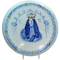 English Delftware Royal Portrait Charger of William 111, Brislington Bristol En  $19,029.98