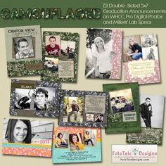 FUN, NEW Graduation Announcements from FotoTale Designs. Modern, professional photoshop card templates for photographers Graduation Templates, Camo Designs, Graduation Announcements, Senior Girls, Card Templates, Camouflage, Boy Or Girl, Photographers, Photoshop