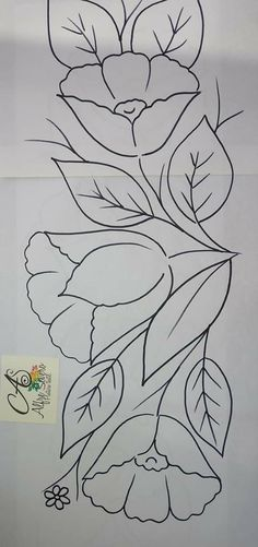 Border Embroidery Designs, Embroidery Flowers Pattern, Embroidery Stitches, Painting Patterns, Fabric Painting, Fabric Art, Art Drawings For Kids, Easy Drawings, Fabric Paint Designs