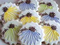 Daisy Cookies~                            By Sugar Bliss, blue, green, yellow