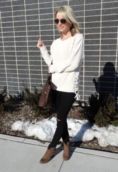 Comfy cream lace up sweater, distressed black jeans and cute brown suede booties!