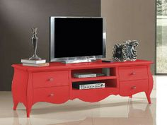 Mueble TV color rojo