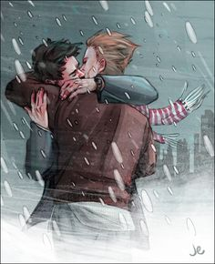 joannaestep:  Steve/Tony kissyface in the snow. Every now and then I actually put effort into something. I have also now arrived at the conclusion that the reason Marvel has not hired me is that they are afraid I will gay-up their franchise. OH WAIT. Click to embiggen! :B