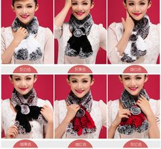 (Buy Two Get Third Free)6 Colors New Floral Soft Rex Rabbit Real Fur Lady Scarf  #Handmade #Scarf #WinterKeepWarm