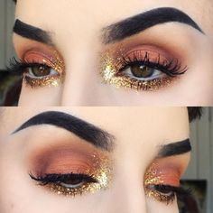 warm orange eye w/ gold glitter inner-corner highlight extending upwards & into the whole lower lashline @kayteeellen | grunge-y glam makeup no liner