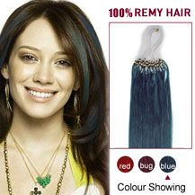 24 inches Blue 100S Micro Loop Human Hair Extensions