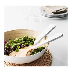 $5.99 GRIPANDE 2-piece salad server set, bamboo, white