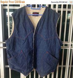 sale 25% Vintage 70s Fleetwood Sportswear sanforized denim vest wool lined jacket by bintangclothingstore on Etsy https://www.etsy.com/listing/511714494/sale-25-vintage-70s-fleetwood-sportswear