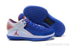 6a4b58be0b00c1 2018 Andre Drummond Air Jordan 32 Low PE Royal Blue White-Red Flyknit Best