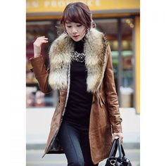Stylish Imitation Fur Neck Long Sleeve Solid Color Faux Leather Coat With Belt For Women — 88.22 € Size: L Color: BROWN